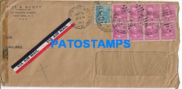 165028 US NEW YORK COVER CANCEL YEAR 1944 CENSORED MULTI STAMPS NO POSTAL POSTCARD - Unclassified
