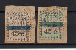 !!! REUNION, LOT DE 2 TIMBRES LOCAUX OBLITERES SUR FRAGMENT - Used Stamps