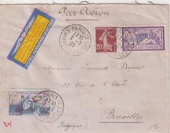 FRANCE : PA . DE PARIS . POUR  BRUXELLES . VIGNETTE . 1923 . - Luchtpost