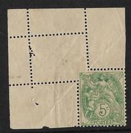 France Type Blanc N°111 Variété Dentelure Incomplète Par Pliage. - Curiosities: 1900-20 Mint/hinged