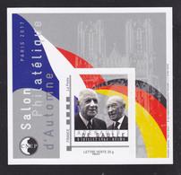 CNEP N° 75 NEUF ** MNH - SALON PARIS AUTOMNE 2017 De Gaulle, Adenauer, Bloc Adhésif, TB - CNEP