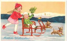 Marie Flatscher Children With Sledge And Dogs - Altre Illustrazioni