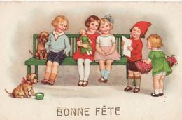 Marie Flatscher Children On Bench With Dachshund Poppy - Altre Illustrazioni