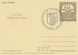 Poland Overprint Cp 765.06 War: Stamp Day 1983 Warszawa Crest Mermaid - Entiers Postaux