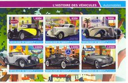 Republic Of Djibouti 2015 - Bugatti-Packard-Delahaye-Voisin-Mercedes-ZIS  - 6v Feuillet  Neuf/Mint/MNH - Automobili
