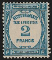Timbres-Taxe N°61, 2fr Bleu 1927, Neuf ** Sans Charnière - TB - 1859-1955 Nuovi