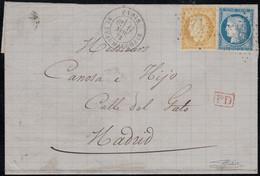N°59 + 60A, Oblitérés étoile 12 PARIS Bd BEAUMARCHAIS Lettre Pour Madrid 1873 - 1871-1875 Cérès