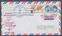 USA United States PAN AM Airlines 1966 - First NON STOP SERVICE DC-8 JET, First Flight Cover FFC JAMAICA N. Y. To LIMA P - Covers & Documents