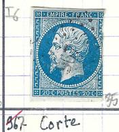 FRANCE Classique: Le Y&T 14A, Obl. GC 967 (Corte, Ind.6), CORSE, TP Déf. - 1863-1870 Napoleon III Gelauwerd
