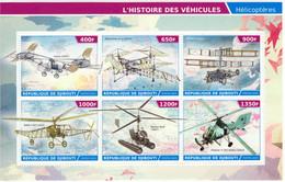 République Djibouti 2015  -  Cornu-Oehmichen 2-Pescara-TsAGI 1-EA-Kamov-Flettner FI 282   -   6v Feuillet Mint/Neuf/MNH - Helicópteros