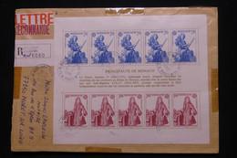 MONACO - Enveloppe En Recommandé Pour Moret / Loing En 1988, Affranchissement Bloc Europa  - L 101110 - Lettres & Documents