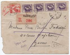 CORSE Rare Affranchissement COQ + Marianne D'Alger / Lettre Recommandée AJACCIO Août 1944 (EXPRÈS Par Erreur) - Lettres & Documents