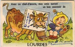 D65  Avec Ce Chef D'œuvre Mes Amis Auront Un Bon Souvenir De Lourdes  ...Carte à Système Avec Dépliant De Petites Vues - Lourdes