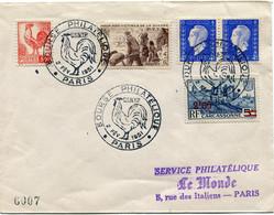 FRANCE LETTRE AVEC OBLITERATION ILLUSTREE AVEC UN COQ BOURSE PHILATELIQUE C.S.N.T.P. 2 FEV 1951 PARIS - Mechanical Postmarks (Advertisement)