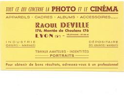 BUVARD Photo Cinéma RAOUL DEVILLE à Lyon TB Voir Les 2 Scans - Cinéma & Theatre