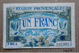 Lot 2 Billets Chambre De Commerce : 1 Franc Région Provençale Et  1 Franc Roche Sur Yon - Cámara De Comercio