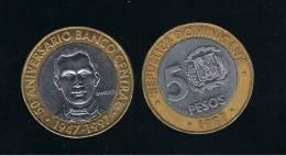 DOMINICANA  - 5 Pesos 1997  KM88 - BIMETAL - Dominicana