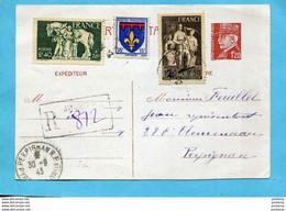 """Marcophilie-RARE- Entier Postal""""- Envoi Recommandé"""" Cad 1943-1.20 PETAIN +complément Afft3 Tp N°585-6+574 - Guerra Del 1939-45"""