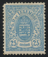 Luxembourg 1880 25c Blue Large Margins PERF. 13 1/2 MH * ORIG. GUM, Faut-free Condition, MiNr. 43A, Cat. €340+++ - Dienstpost