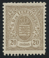 Luxembourg 1880 20c Brown Large Margins Perf. 12 3/4 X 12 1/2, MNG (*), Faut-free Condition, MiNr. 42B, Cat. €55 - Dienstpost