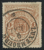 Luxembourg 1865 1c Red-brown Rouletted And Used, Exceptional Aspect And Fault-free, Sign. Senf, MiNr. 12, Cat. €300+ - Dienst