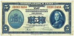 NETHERLANDS INDIES - 5 GULDEN - 02.03.1943 - Pick 113.a - Queen Wilhelmina - Niederländisch-Indien