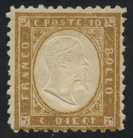 Italy 1862 First Issue 10c Bistre MH * Orig. Gum, Fault-free Quality, Sign. Roig, Sassone 1 (or Better) Min. Cat. €7,000 - Ungebraucht