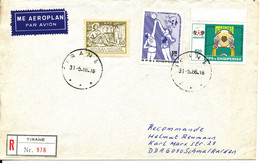 Albania Registered Cover Sent Air Mail To DDR Tirana 31-5-1986 Topic Stamps Basketball Soccer Football - Albania