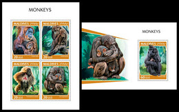 MALDIVES 2018 - Chimpanzees - YT 6595-8 + BF1261, CV=26 € [MLD181111] - Chimpanzees