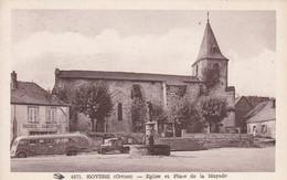 Cpa Dept 23 - Royere - église Et Place De La Mayade - Autobus- Boucherie Chacuterie (voir Scan Recto-verso) - Royere