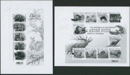Feuillet En Noir Et Blanc - GCA19 + 21 André Buzin (Animaux) - Zwarte/witte Blaadjes