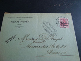 Lettre Fabrique D'armes Automatiques Nicolas Pieper Liège Censure Militaire Luttich - Old Professions