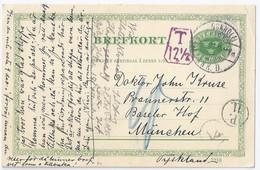 """Schweden Bayern 1911, 5 öre Ganzsache M. """"T"""" U. Portokontrolle München. #971 - Bavaria"""