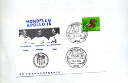 Carte Cachet Bochum Observatoire Illustré Apollo - Europe