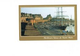 Petite Cpm - 35 - Saint Malo - Le Belem Devant La Grande Porte - Edit JOS MC 692 - Bateau Voiture - Meilleurs Vœux - Saint Malo