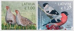Latvia Lettland Lettonie 2021 (11) Birds Of Latvia - Grey Partridge - Eurasian Bullfinch - Lettland