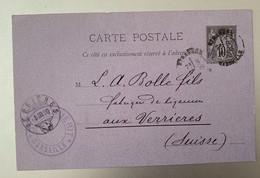 14035 - Entier Postal Marseille Etranger 8.03.1890 Pour Verrières - Standard- Und TSC-AK (vor 1995)