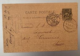 14037 - Entier Postal Pontarlier 8.01.1892  Pour Verrières - Standard- Und TSC-AK (vor 1995)