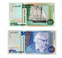 Lot De 2 Billets Cap Vert Cabo Verde 200 Escudos Et 500 Escudos De 1992 - Cape Verde
