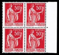 N°283 ** Paix: 50c Rouge, Faux De Barcelone En Bloc De Quatre Bord De Feuille, TB - 1932-39 Paz