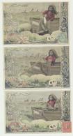 Lot De 3 Cartes Fantaisie Illustrée - Enfant Barque Lutin - Pêche - Poisson - Colecciones, Lotes & Series