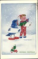 Artiste CPA Schermele, Willy, Glückwunsch Neujahr, Singender Junge Und Vogel, Stechpalmenzweig - Nouvel An