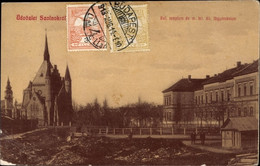 CPA Szolnok Sollnock Ungarn, Ref. Templom Es M. Kir. All. Fögymnasium - Hungary