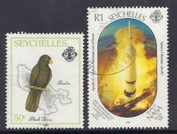 Seychelles 1989 - Praslin Island, Map, Birds Black Parrot, Nasa Apollo 11, Space Saturn 5 Rocket, Moon Landing - Used - Seychelles (1976-...)
