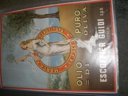 TARGA IN CARTONE PUBBLICITARIA OLIO DI OLIVA ESCOFFIER GUIDI - Plaques En Carton