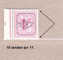 PRE790A-P1** Zonder Scharnier,16 Tanden Verticaal Ipv 17:dof Papier.Heraldieke Leeuw:1fr.Opdruk Type G.OBP 125 Euro. - Sobreimpresos 1951-80 (Chifras Sobre El Leon)
