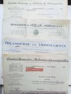 4 Lettres Ou Factures De  BRASSERIES  / BIÈRES :: CHAPIGNEULLES, VÉZELISE,DOMMARTIN. - Publicités