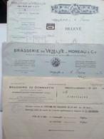 3 Lettres Ou Factures De  BRASSERIES  / BIÈRES :: VÉZELISE Et DOMMARTIN. - Publicités