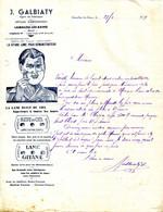 34.LAMALOU LES BAINS.LA GITANE LAME DE RASOIR POUR DEMONSTRATEUR.LAME BLEU DU CIEL.J.GALBIATY AGENT DE FABRIQUE. - Non Classés