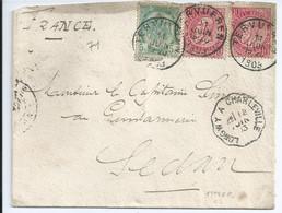 Brief Met OCB 58 (2x)-56 Van TERVUEREN Naar Sedan (FR) - 1893-1900 Schmaler Bart